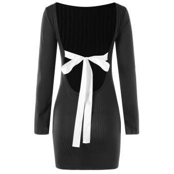 Bowknot Decorated Open Back Dress - BLACK BLACK