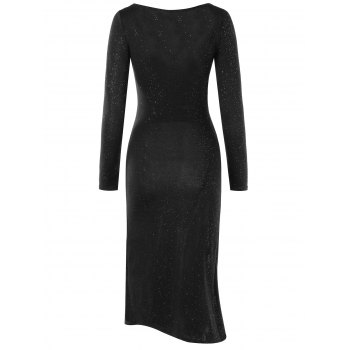 Long Sleeve High Slit Dress - BLACK M
