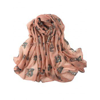 Cute Dancing Fox Decorated Long Shawl Scarf - PINK PINK