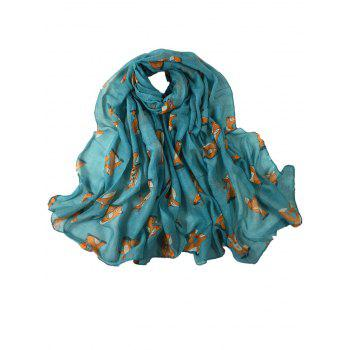 Cute Dancing Fox Decorated Long Shawl Scarf - AZURE AZURE