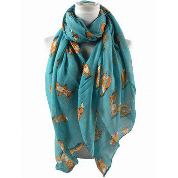 Cute Dancing Fox Decorated Long Shawl Scarf -  AZURE
