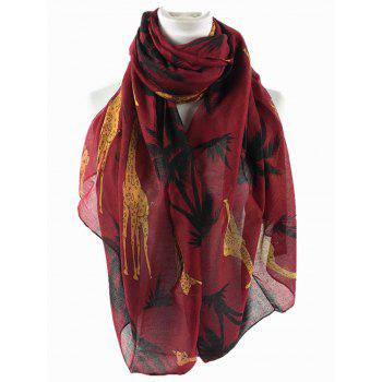 Cute Cartoon Giraffe Pattern Decorated Silky Long Scarf - WINE RED