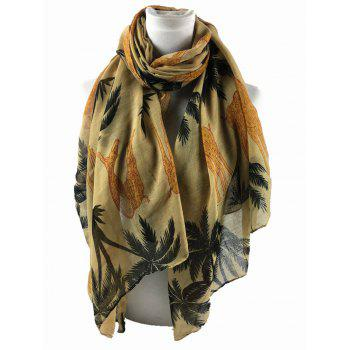 Cute Cartoon Giraffe Pattern Decorated Silky Long Scarf - KHAKI