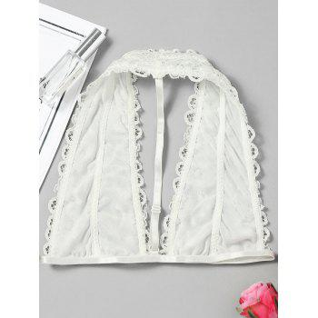 Lace Bralette Scalloped Trim Top - WHITE XL