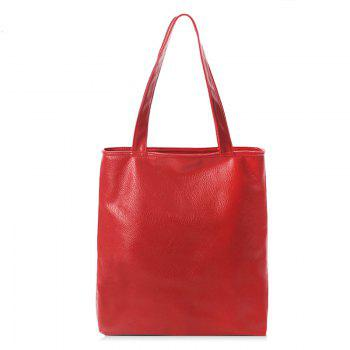 Faux Leather Double Handle Shoulder Bag - RED RED