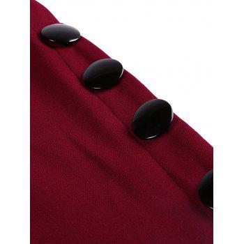 Side Button Up Slim Fit Skirt - WINE RED L
