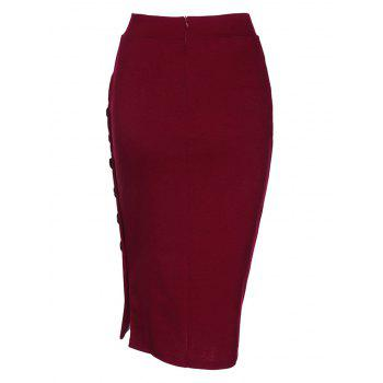 Side Button Up Slim Fit Skirt - WINE RED 2XL