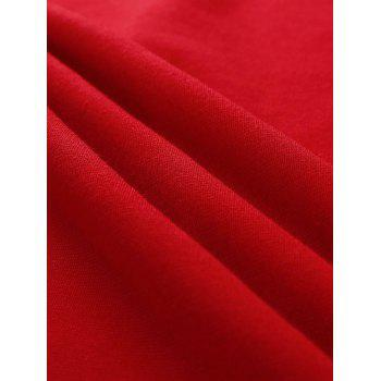 Side Button Up Slim Fit Skirt - RED XL