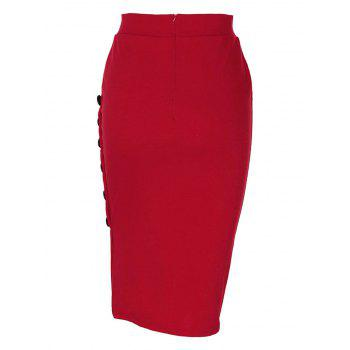 Side Button Up Slim Fit Skirt - RED L