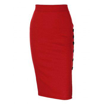 Side Button Up Slim Fit Skirt - RED M
