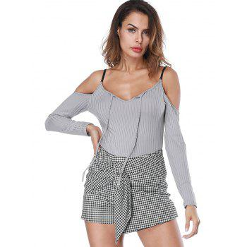 Long Sleeve Ribbed Spaghetti Strap Bodysuit - GRAY GRAY