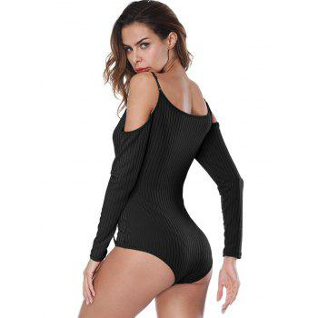 Long Sleeve Ribbed Spaghetti Strap Bodysuit - BLACK BLACK