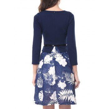 Knee Length Flare Print Dress - BLUE M