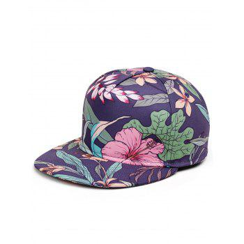 Lotus Pattern Decorated Flat Brim Snapback Hat - WATER RED WATER RED