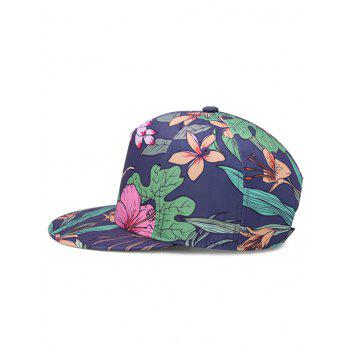 Lotus Pattern Decorated Flat Brim Snapback Hat - WATER RED