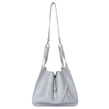Transformed Faux Leather Shoulder Bag Set - GRAY