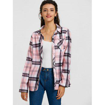 Plaid Tunic Shirt - PINK L