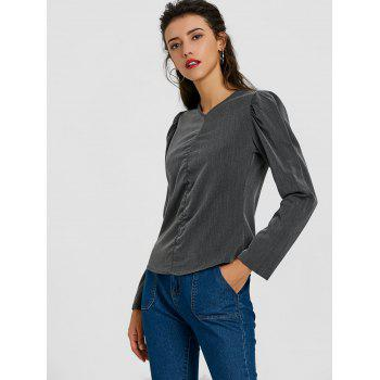 Ruched Puffy Sleeve Blouse - DEEP GRAY S