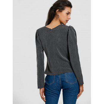 Ruched Puffy Sleeve Blouse - DEEP GRAY M