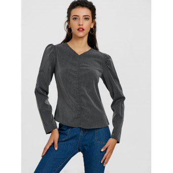 Ruched Puffy Sleeve Blouse - DEEP GRAY DEEP GRAY