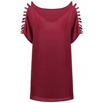 Short Sleeve Ladder Cutout Blouse - WINE RED WINE RED