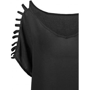 Short Sleeve Ladder Cutout Blouse - BLACK 2XL
