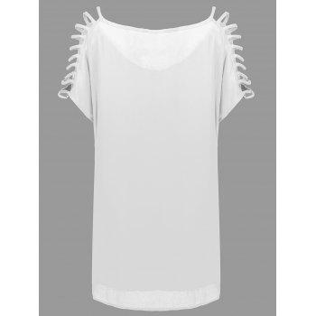 Short Sleeve Ladder Cutout Blouse - WHITE 2XL