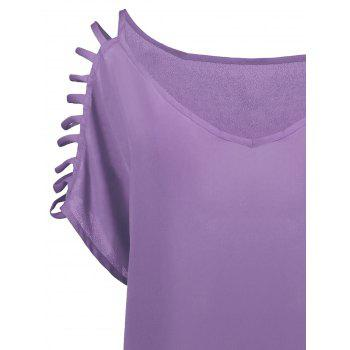 Short Sleeve Ladder Cutout Blouse - LIGHT PURPLE LIGHT PURPLE