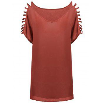 Short Sleeve Ladder Cutout Blouse - WATERMELON RED WATERMELON RED