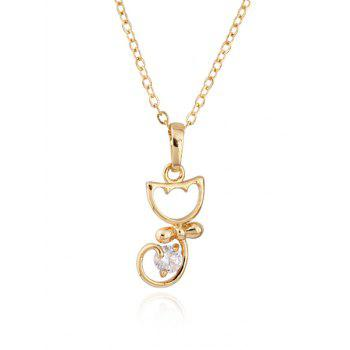 Kitty Fake Crystal Pendant Necklace - GOLDEN GOLDEN