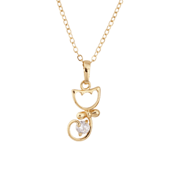 Kitty Fake Crystal Pendant Necklace -  GOLDEN