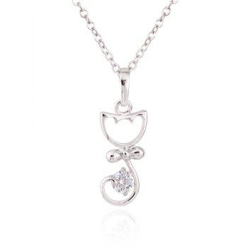 Kitty Fake Crystal Pendant Necklace - SILVER SILVER