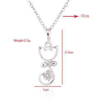 Kitty Fake Crystal Pendant Necklace -  SILVER
