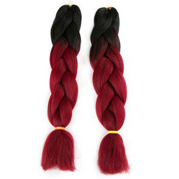 Long X-pression Braid Two Tone Synthetic Wig - BLACK + WINE RED BLACK / WINE RED