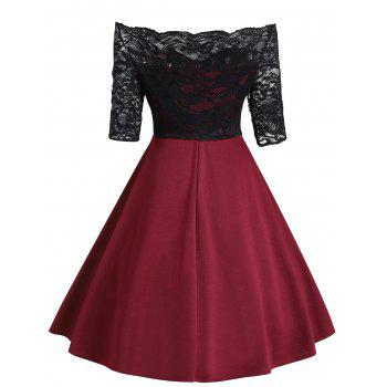 Vintage Lace Insert Off The Shoulder Dress - WINE RED 2XL