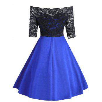 Vintage Lace Insert Off The Shoulder Dress - BLUE BLUE