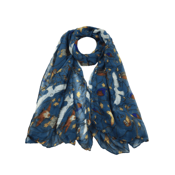Soft Birds Pattern Embellished Silky Long Scarf -  APPLE SLICE