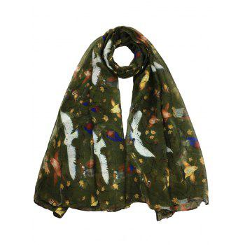 Soft Birds Pattern Embellished Silky Long Scarf - ARMY GREEN ARMY GREEN