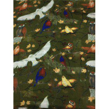 Soft Birds Pattern Embellished Silky Long Scarf - ARMY GREEN