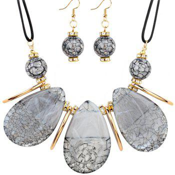 Rhinestone Beads Teardrop Necklace and Earrings - WHITE WHITE