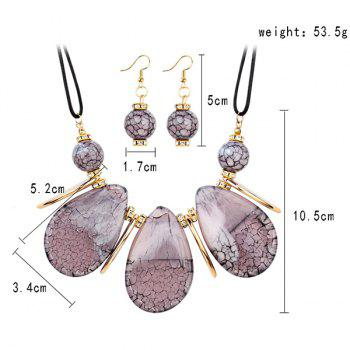 Rhinestone Beads Teardrop Necklace and Earrings - PINK