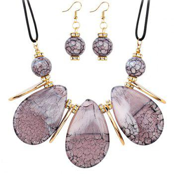 Rhinestone Beads Teardrop Necklace and Earrings - PINK PINK