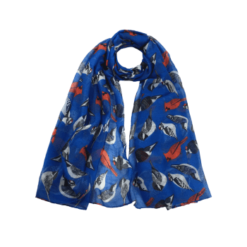Soft Flying Birds Pattern Embellished Silky Long Scarf - ROYAL