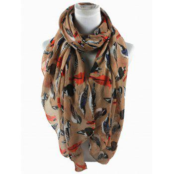 Soft Flying Birds Pattern Embellished Silky Long Scarf - KHAKI
