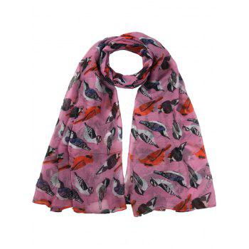 Soft Flying Birds Pattern Embellished Silky Long Scarf - PEONY PINK PEONY PINK