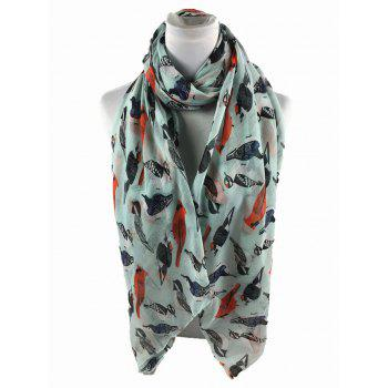 Soft Flying Birds Pattern Embellished Silky Long Scarf - LIGHT BLUE