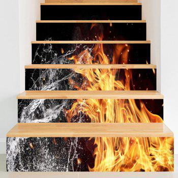 Fire and Water Pattern Decorative Stair Stickers - BLACK BLACK