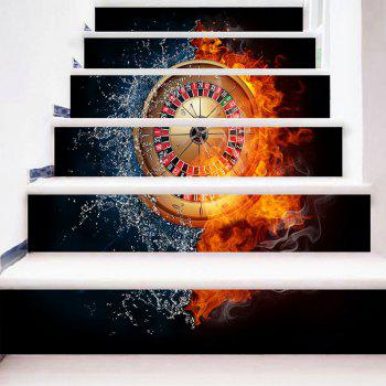 Fire Water Roulette Pattern Novelty DIY Stair Stickers - BLACK 100*18CM*6PCS