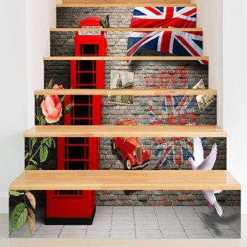 England Style Telephone Booth Stair Riser Stickers - BRICK-RED BRICK RED
