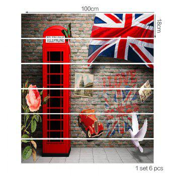 England Style Telephone Booth Stair Riser Stickers - BRICK RED 100*18CM*6PCS